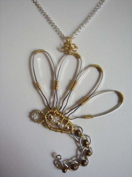 SALE Silver & Gold Wire Wrap Dragonfly Pendant