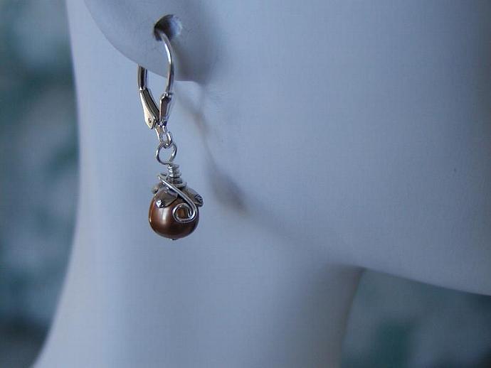 Brown Pearl Sterling Silver Earrings