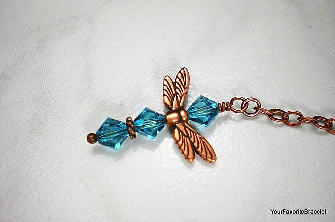 Copper Dragaonfly Blue Crystal Charm