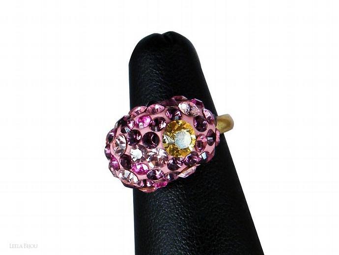 Pink Purple Yellow Ring Swarovski Crystal Gold Plated