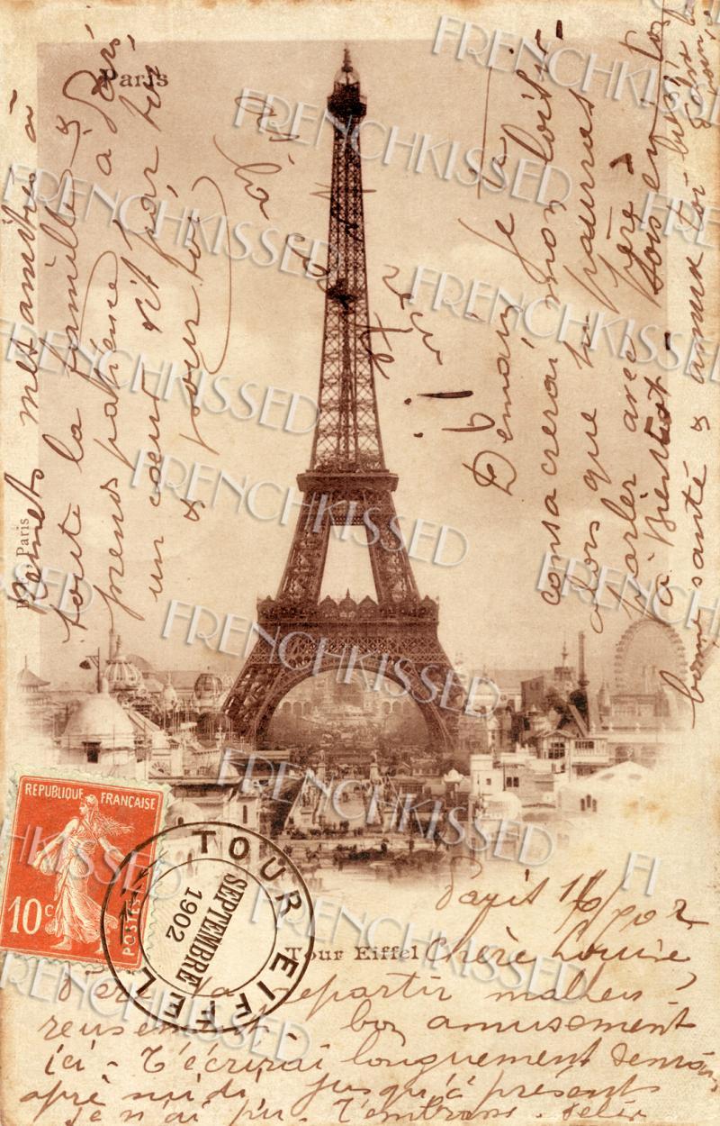 Eiffel Tower French Script Antique 1902 Paris By