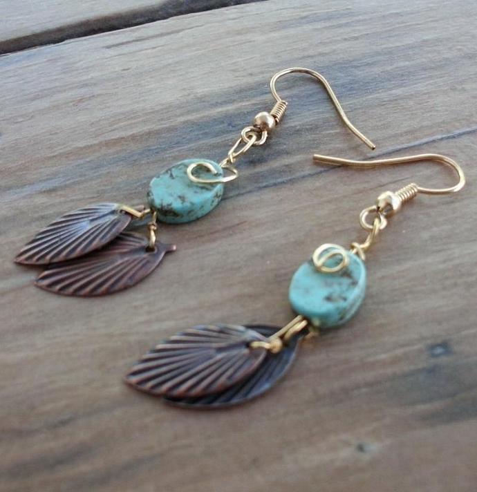 Leafy Turquoise Dangle Earrings