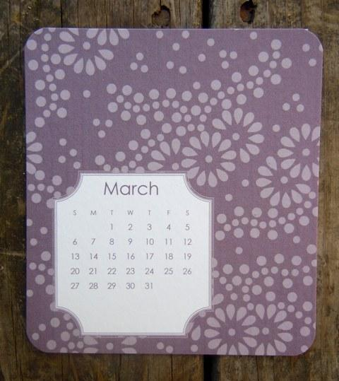 2012 Desktop Calendar in Shades of Purple
