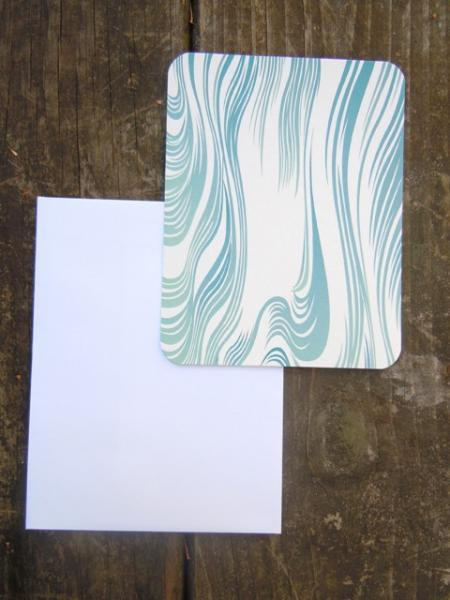 Blue Wave patterned flat note cards Set of 8 blank