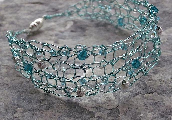 Handcrafted Jewelry AquaBlue Silver Designer Knit Wire Bracelet