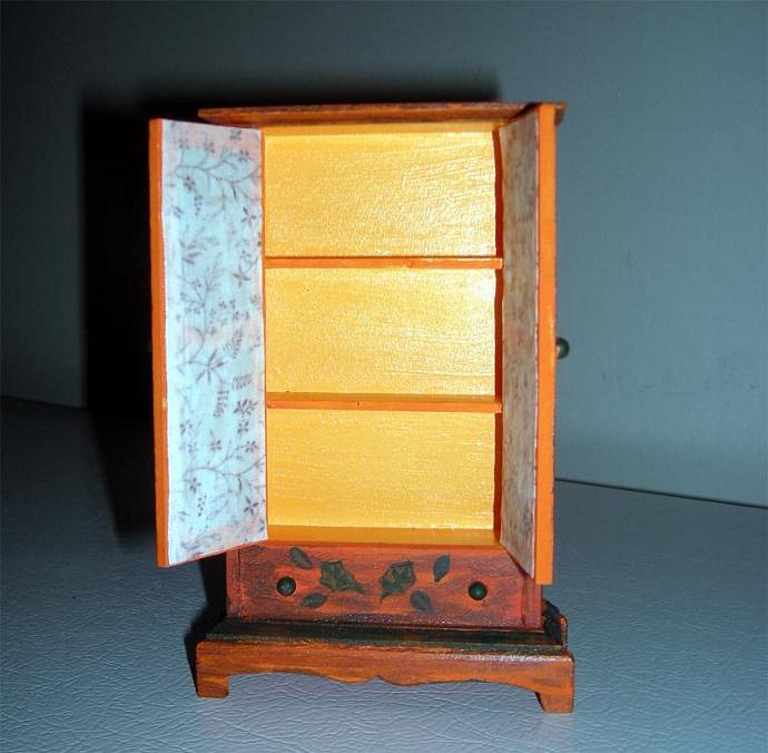 Dollhouse Miniature Autumn Armoire in One Inch Scale
