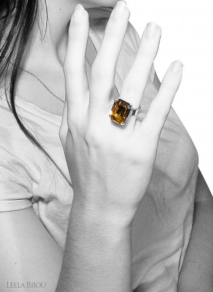 Dark Amber Ring Swarovski Crystal Sterling Silver Honey Orange