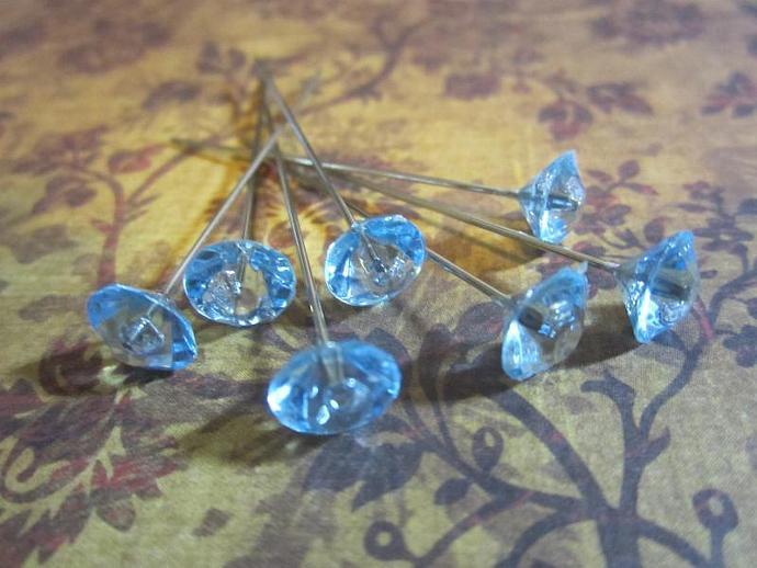 20 - Light Blue Crystal Stick Pins