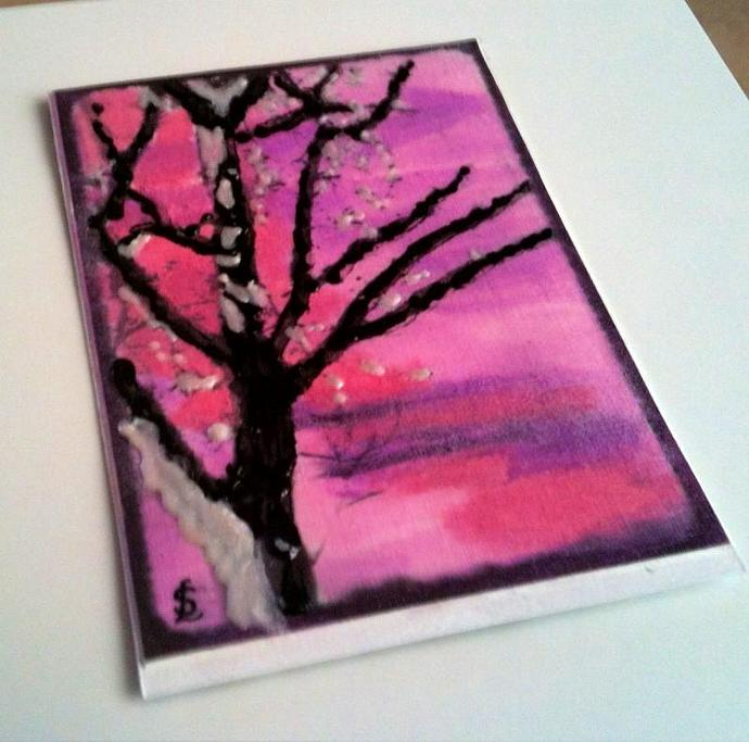 ACEO Original painting - 'Reading Tree.'