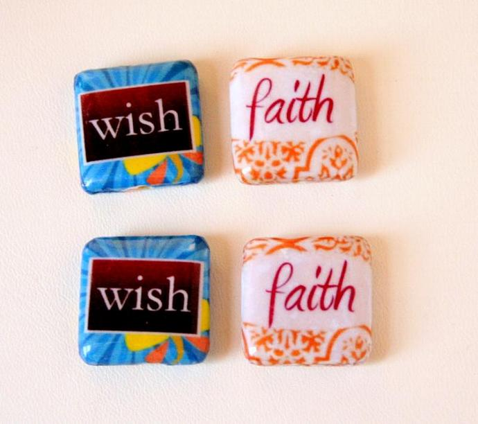 Wish and Faith Decoupage Wood Beads