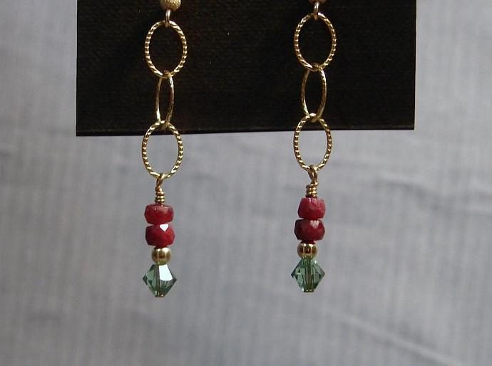 Elegant Ruby and Swarovski Crystal Dangle Earrings