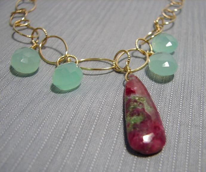 Stunning Ruby Zoizite Pendant Necklace with Chalcedony stones and Pearls