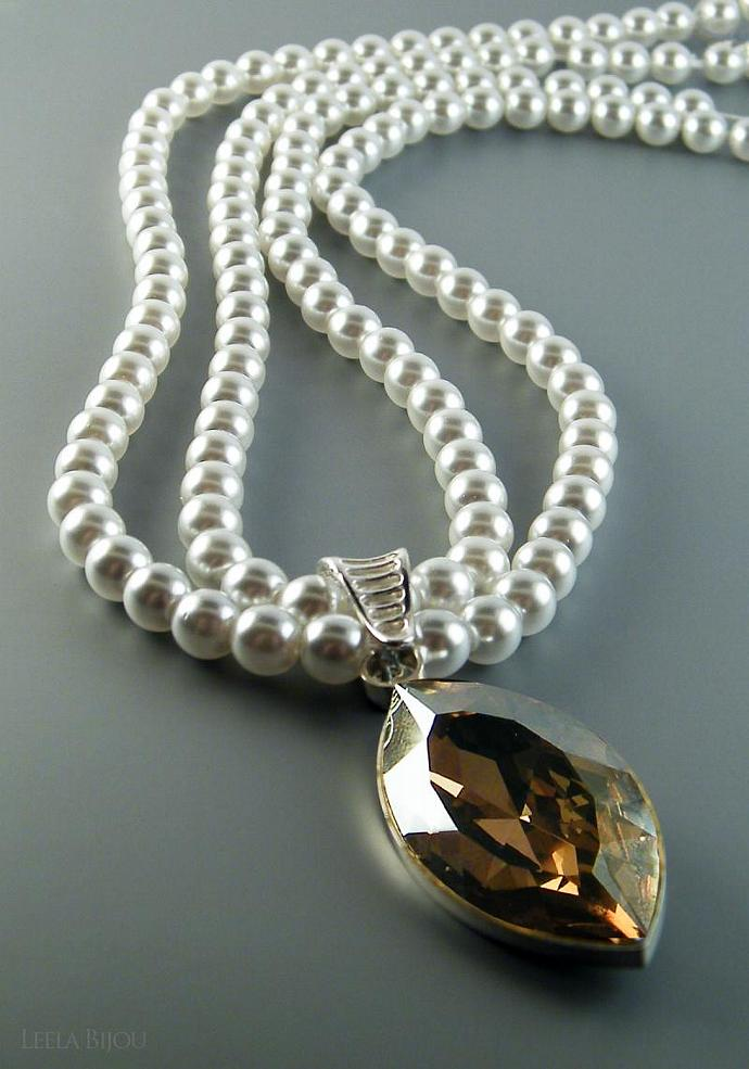 Golden Teardrop Necklace Swarovski Crystal White Pearls Double Strand