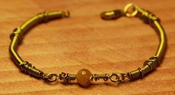 Bracelet- Brass & Carnelian- Subtly Steampunk