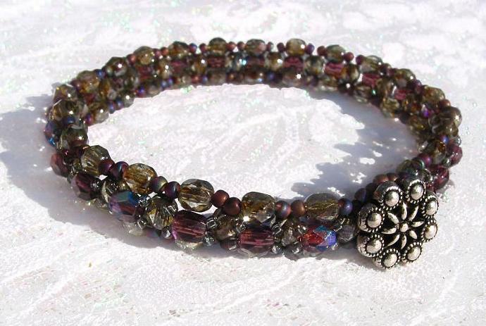 Fire polished beads woven bracelet