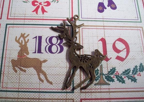 "Antique Bronze Brass Reindeer Charm 2.1/4"""