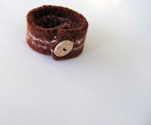 Chocolate & Vanilla Upcycled Felted Cuff