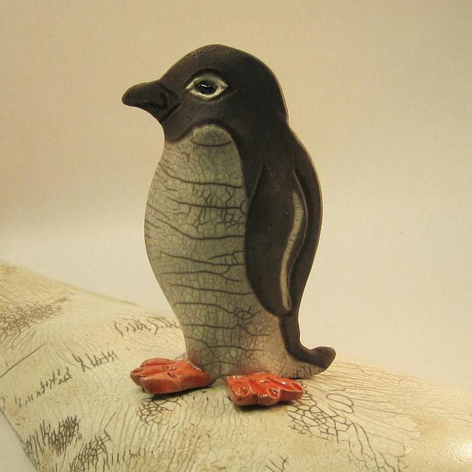 Raku Pottery Penguin Clay Ceramic Penguin Sculpture With Crackle Glaze Smoke