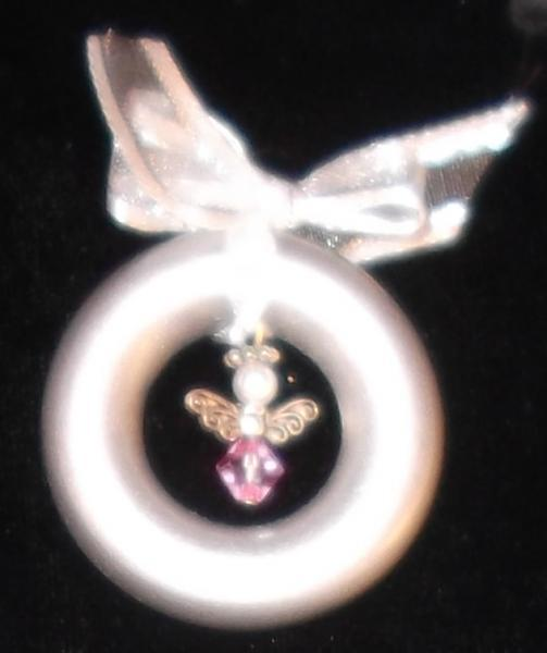 Tiny birth month crystal angel ornament