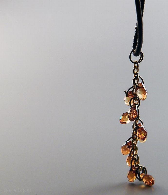 Copper Topaz Necklace Swarovski Crystal Teardrops Brown Leather