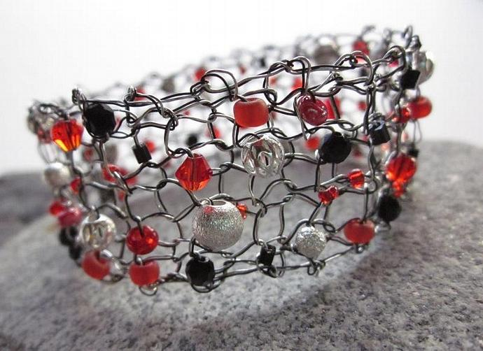 Holiday Jewelry Handcrafted Knit Wire Bracelet with Jewels