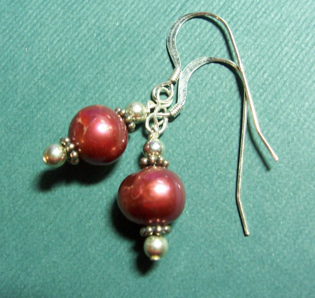 Red Pearls Earrings on Sterling Silver