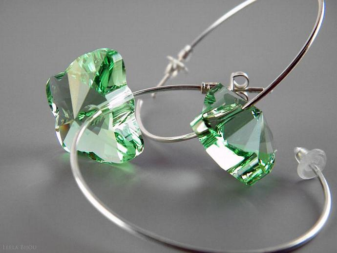 Green Peridot Butterfly Earrings Swarovski Crystal Silver Plated