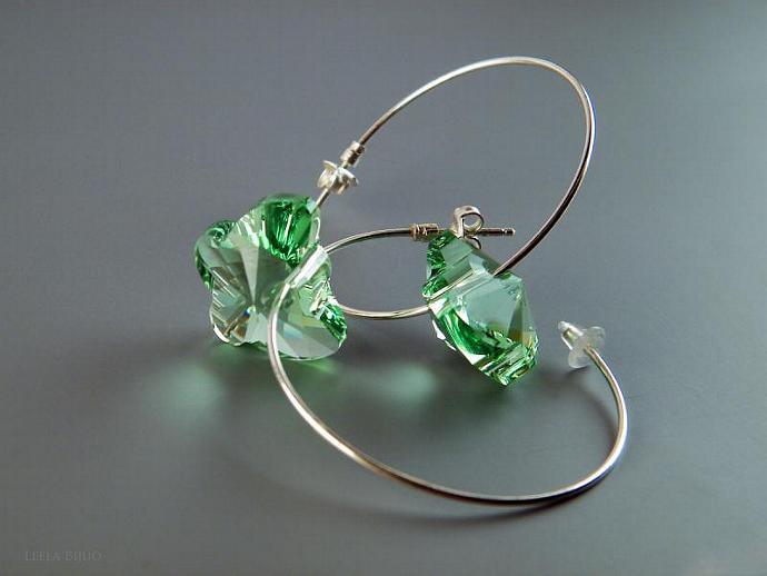 Green Peridot Butterfly Earrings Swarovski Crystal Silver Plated