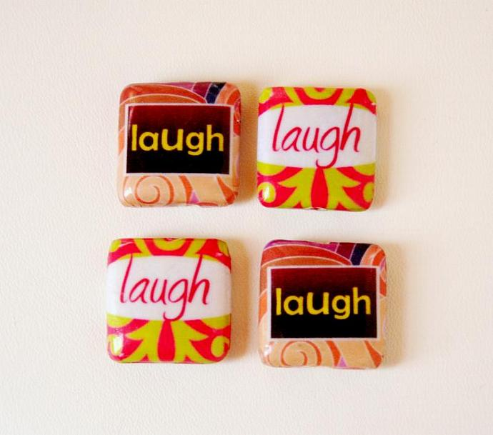 Decoupage Wood Beads - Laugh