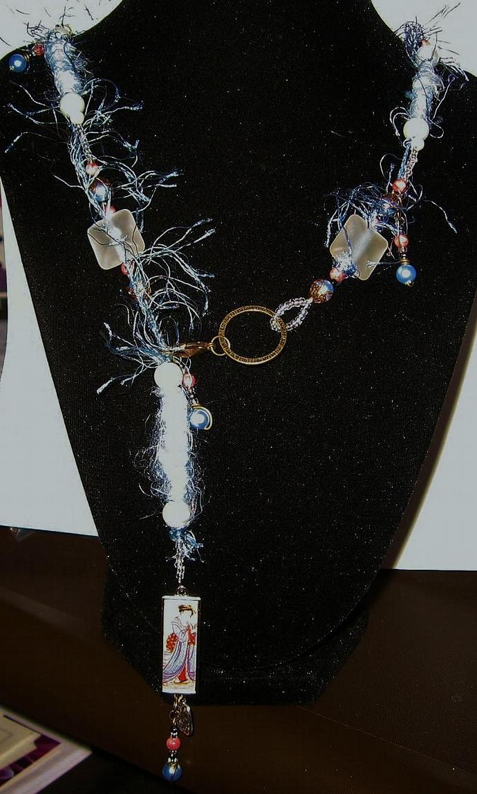 Lamp-work, Bronze, SemiPrecious Stone, Swarovski Pearl, Fiber Bead, Necklace Set