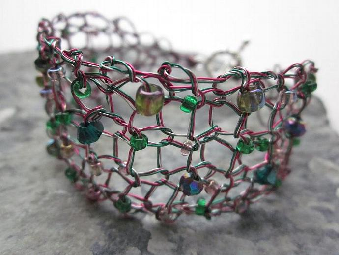 Handcrafted Bracelet Pink Green Silver Knit Wire Jewelry