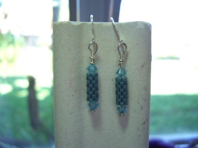 steel blue beaded bead earrings