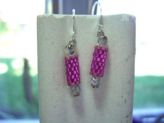 hot pink  beaded bead earrings