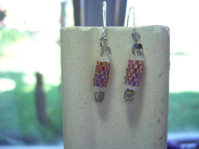 pink multi  beaded bead earrings