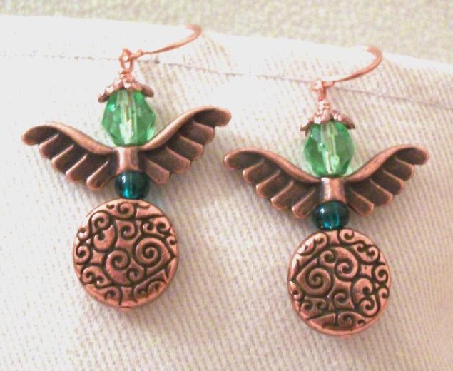 Handmade Copper and Czech Firepolish Guardian Angel Earrings