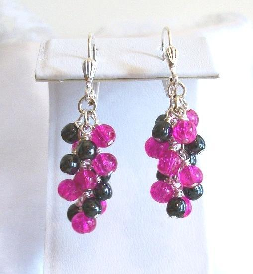 Handmade OOAK Hematite and Czech Glass Fuschia and Black Vineyard Earrings