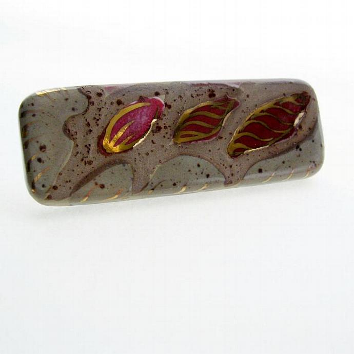 Hand Painted Ceramic Bar Brooch Pin Rose Bud Flower Taupe Red