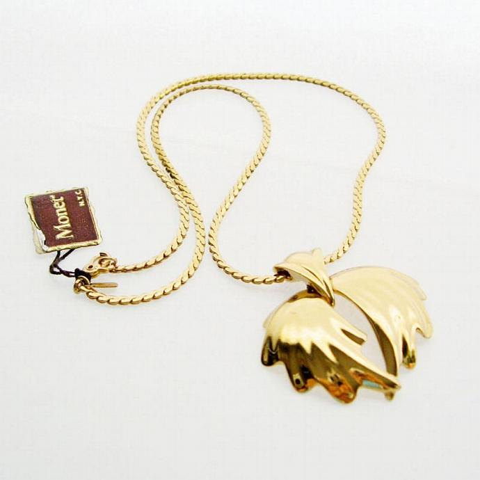 Vintage Monet 14kt Gold Plated Wings Pendant and Chain Necklace - Collector