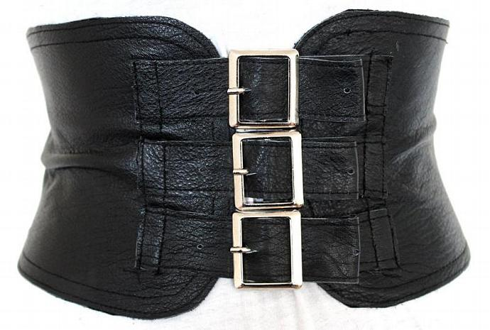 Black Leather corset Waist Belt  - Silver Buckles - 6 inches wide Belt - Small