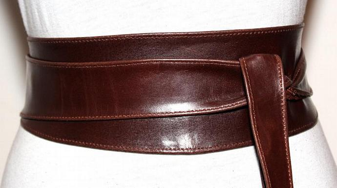 brown obi leather belt size l to xl by ilovebelts