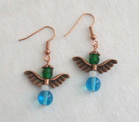 Copper and Czech Firepolish Guardian Angel Earrings in Blue and Green