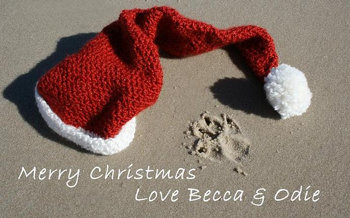 Custom Dog Paw Print Beach Christmas Card YOU PRINT