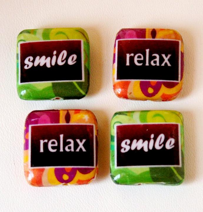 Relax Smile Decoupage Square Wood Beads