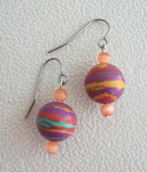 Jupiter Dangle Orange OOAK Clay Earrings with Hypoallergenic Earwires