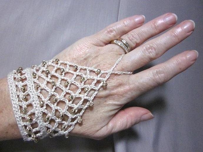 Crocheted Handflower Slave Bracelet Gold Beaded Ecru Cotton