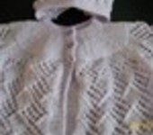 Hand Knit Baby Cardigan & Bonnet  STUNNING DETAIL