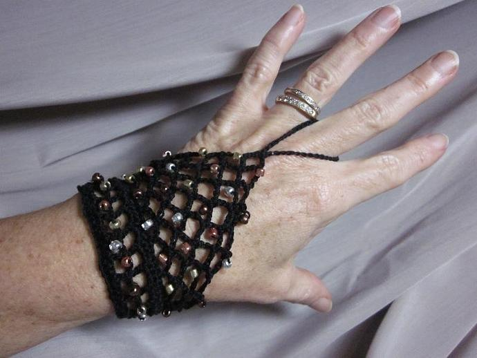 Black  Slave Bracelet Silver, Gold, Copper, Bronze Painted Glass Beads
