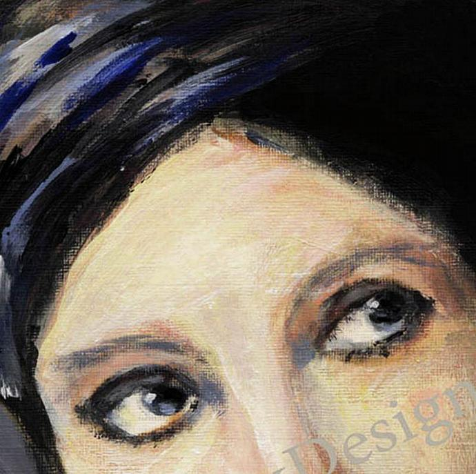 Art -- Woman in Dramatic Blue Turban Art Deco Fine Art Print Free US Shipping