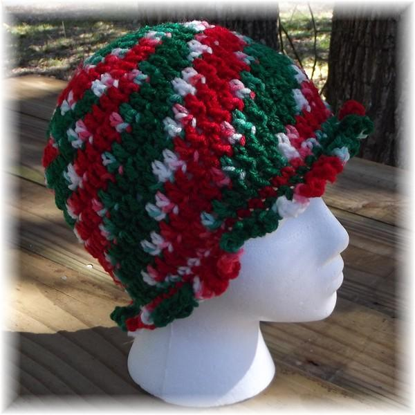 Crocheted Christmas Ruffle Trim Hat