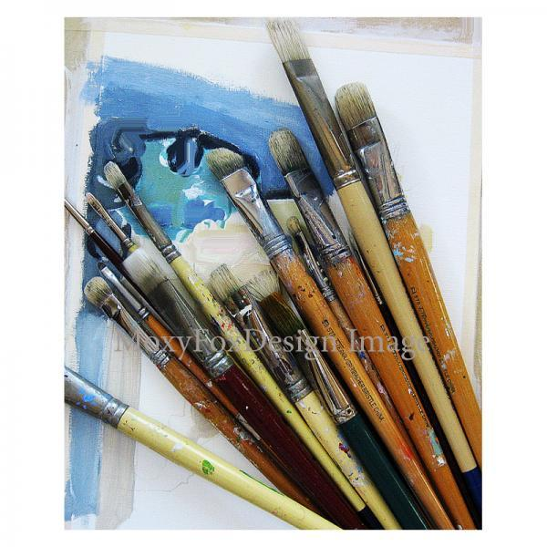 Card - PAINT BRUSHES  Fine Photo Greeting Card to Frame